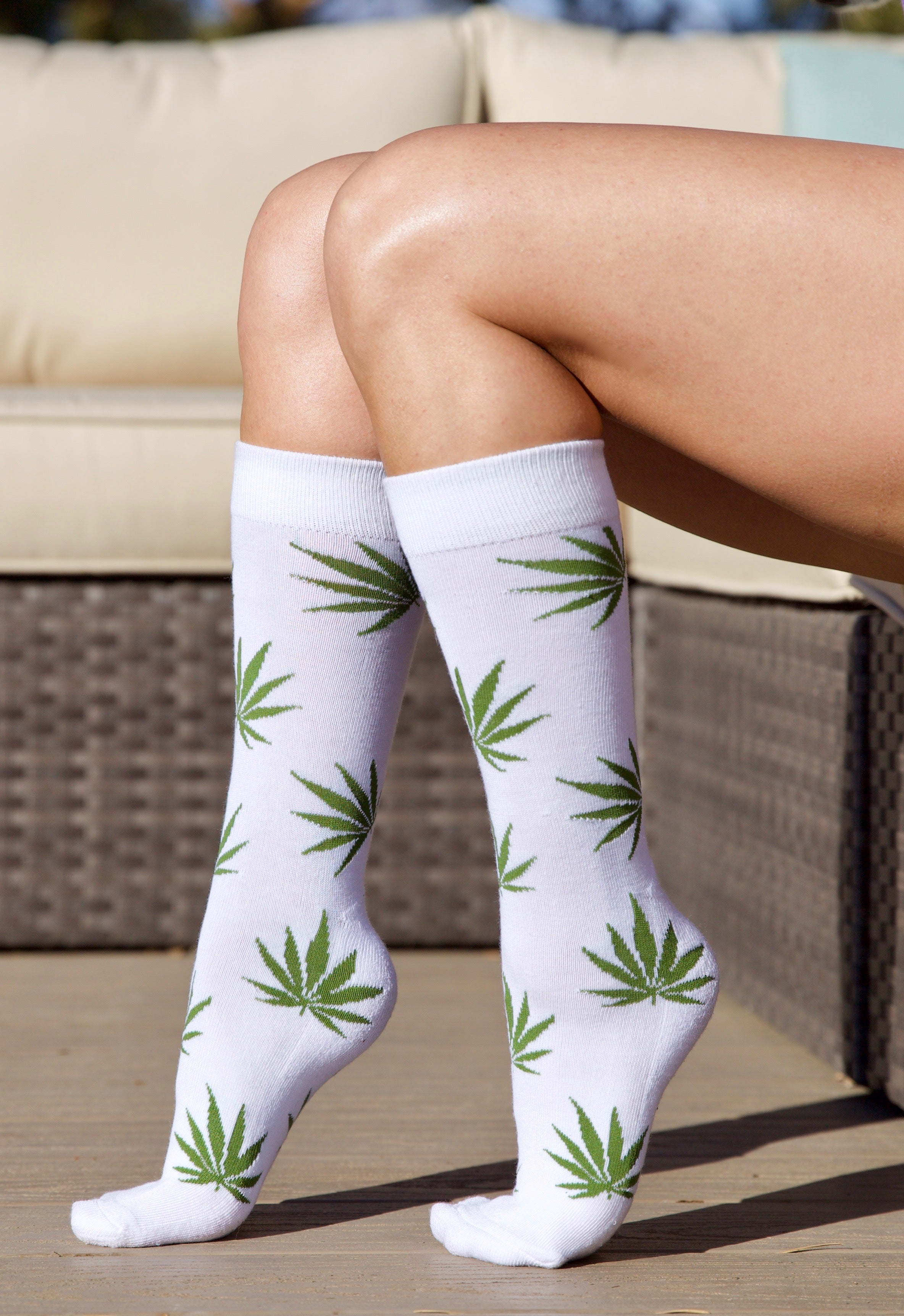 Leaf Socks - White/Green
