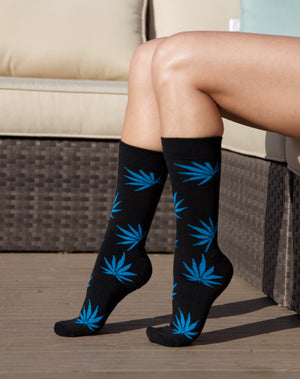 Leaf Socks - Black/Blue