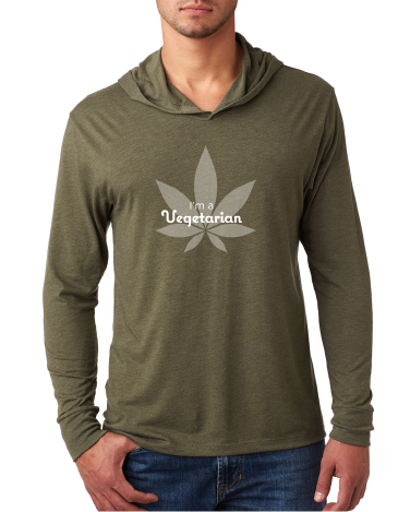I'm a Vegetarian - Lightweight Hoodie - Military Green