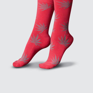 Leaf Socks - Pink/Gray