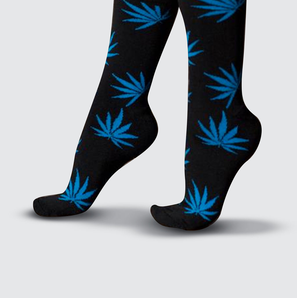 Cannabis Socks - Black/Blue