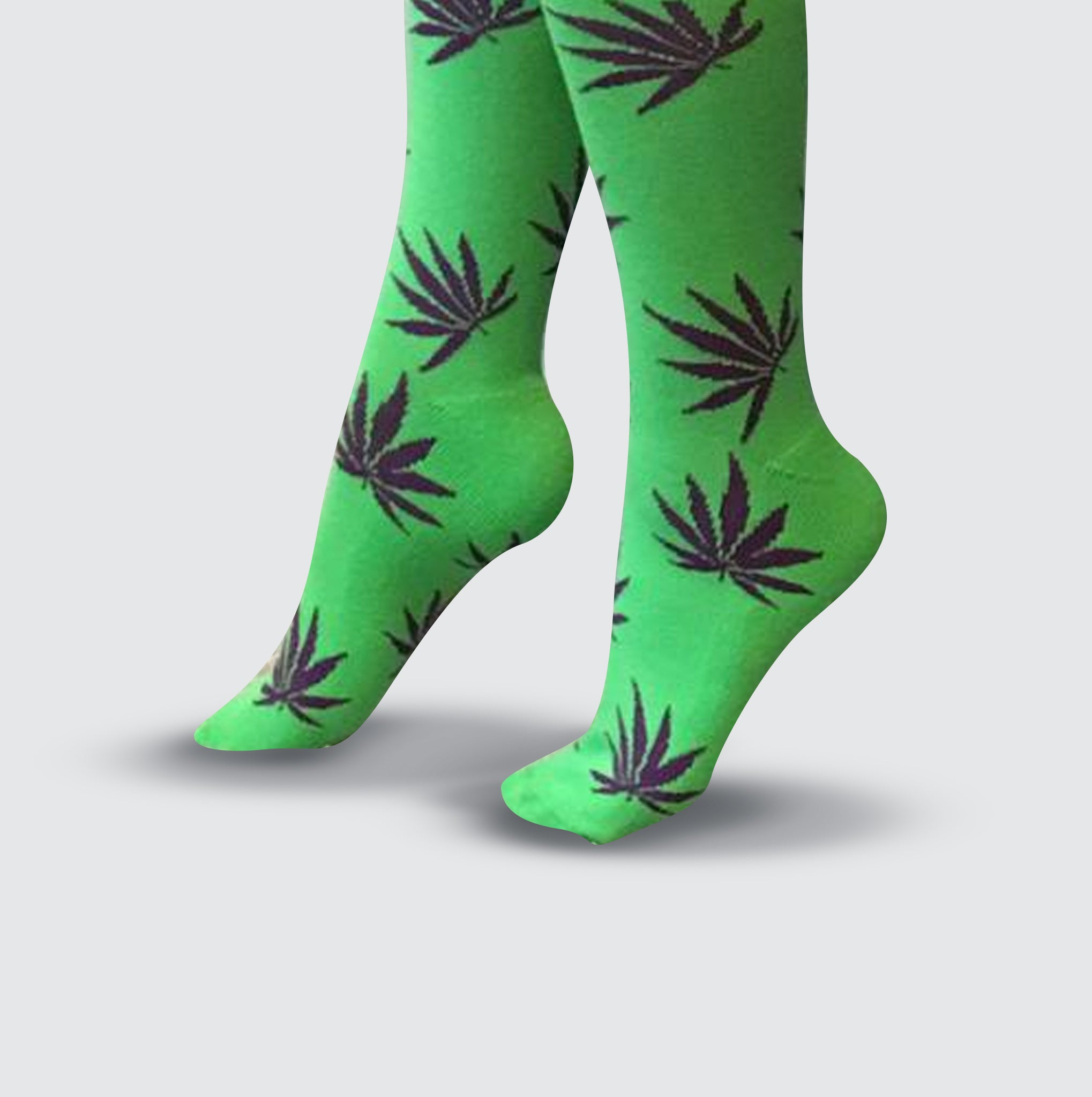 Leaf Socks - Green/Purple