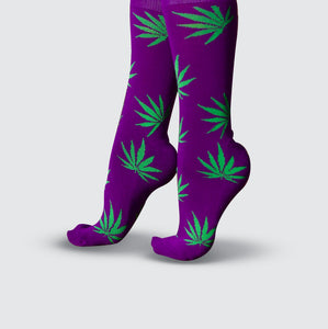 Leaf Socks - Purple/Green