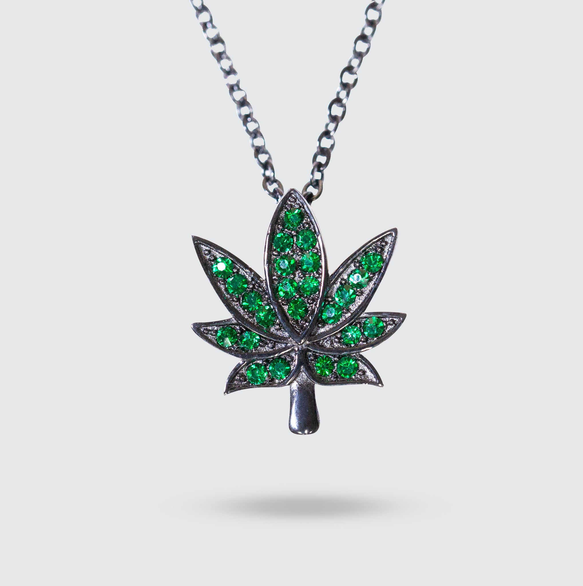 Green Cannabis Leaf Necklace 18""