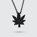 Black Cannabis Leaf Necklace
