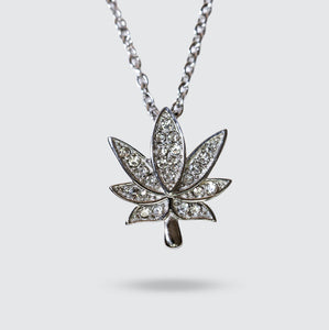 Silver Cannabis Leaf Necklace