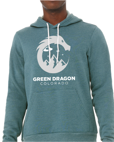 Space Dragon Hoodie- Heather Teal