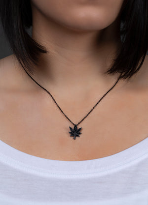 "Black Cannabis Leaf Necklace 18"" Chain"