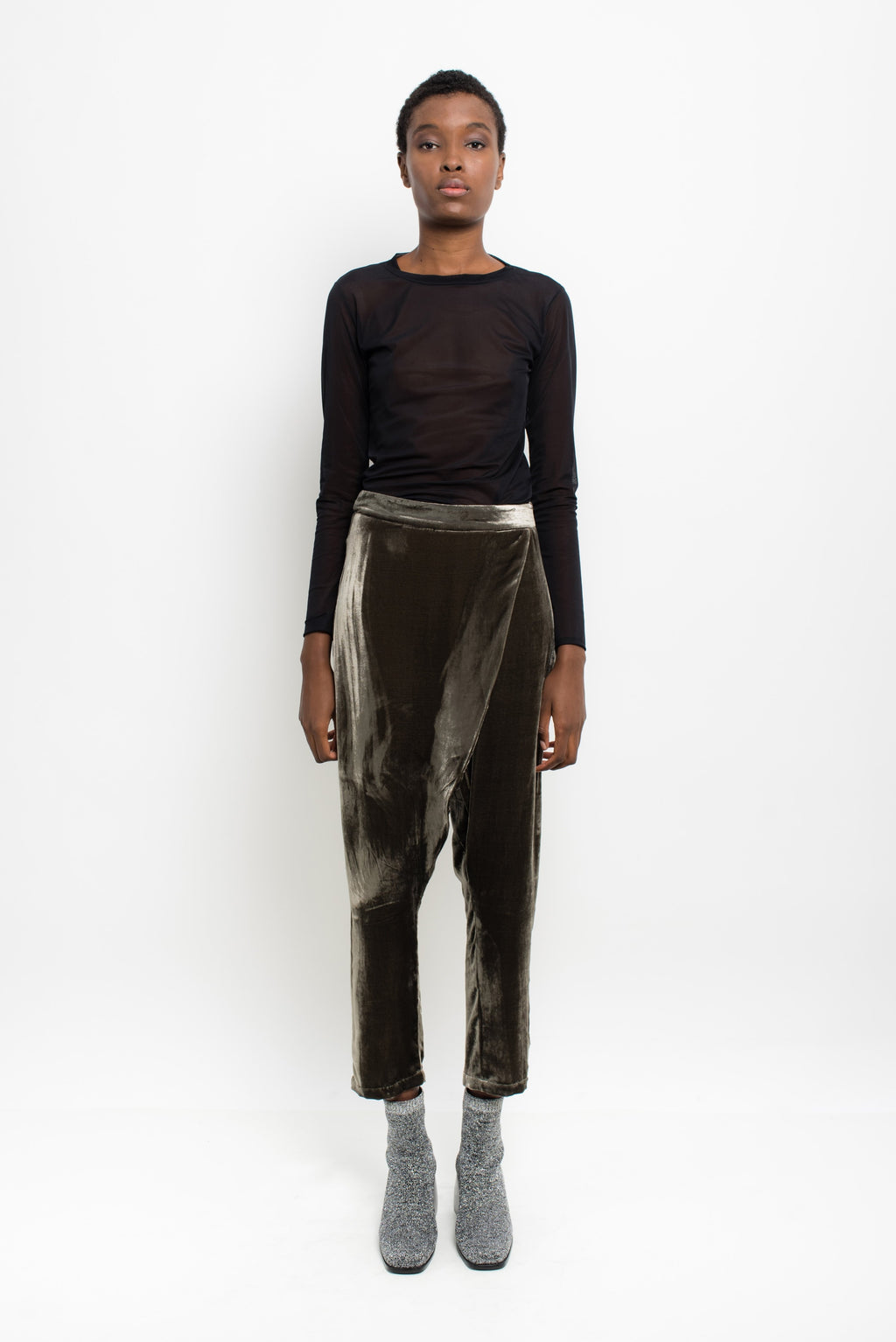 Crossed Velvet Pants | Cleo