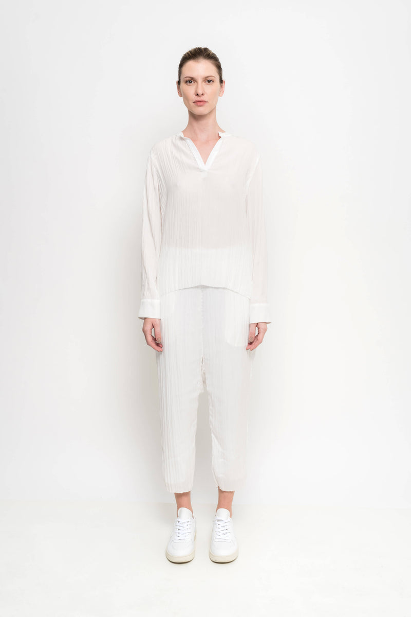 Pleated Long Banded Collar Shirt | Box
