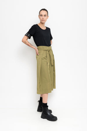 Nylon Culotte Pants With Sash Belt | Acapulco
