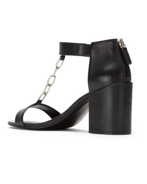 Mid-heel leather sandals with chain detail | Papillon