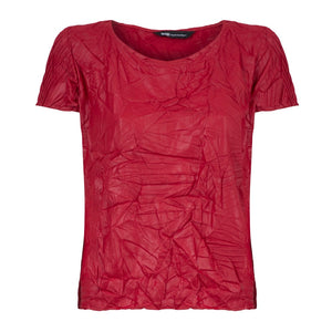 Glossy and Wrinkled Short Sleeve Top | Canas
