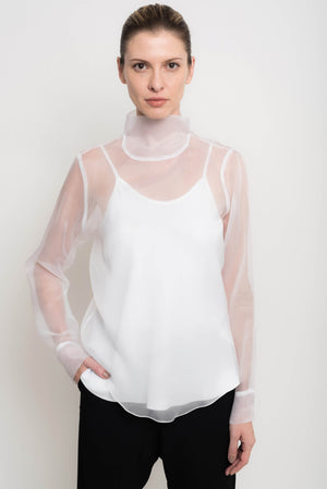 Organza Turtleneck Top With Cuffs | Cina