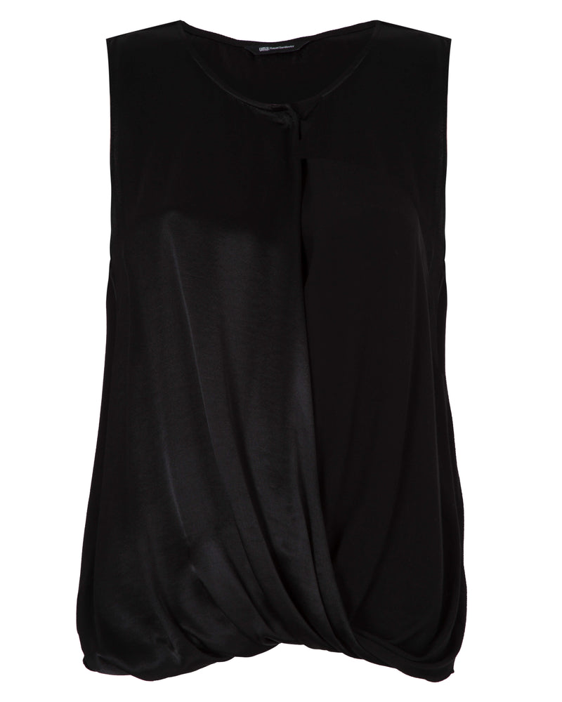 Sleeveless Draped Crepe Top | Cris