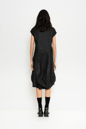 Coated Black Denim Dress | Bahamas