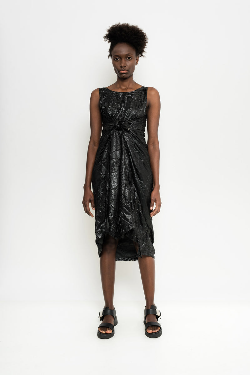 Sleeveless Metallized Pleated Dress | Barka