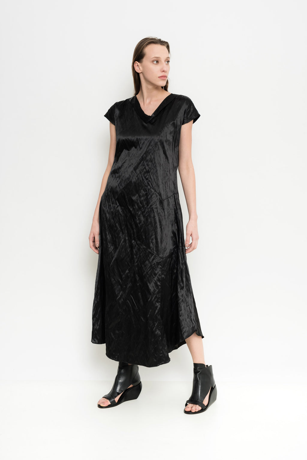 Satin Wrinkled Short Sleeve Dress | Belize