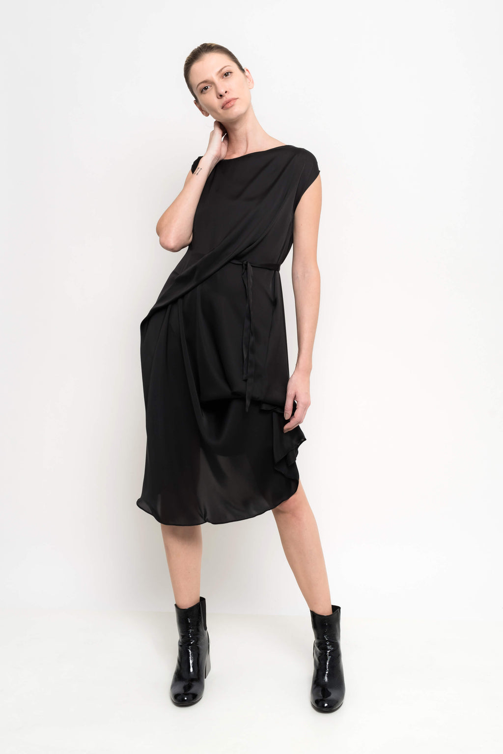 Chic Satin Draped Dress | Romulu