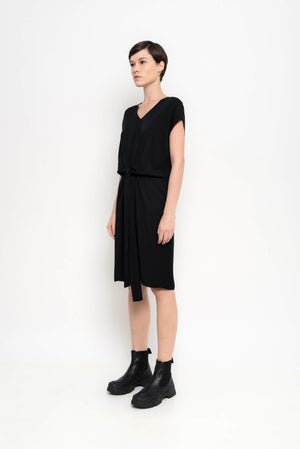 Tailored V Neck Draped Dress | Rush