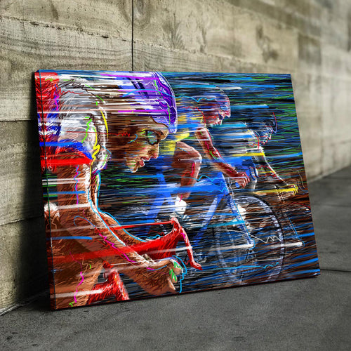 Abstract Cyclist Canvas