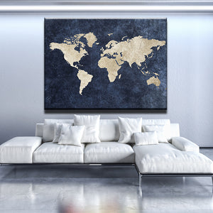 Blue World Map Canvas
