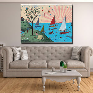 Boats in the Sea Canvas