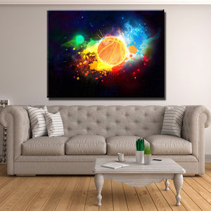 Rainbow Basketball Canvas