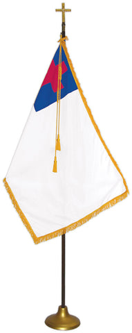 "Christian Flag Deluxe Nylon Sets with Gold Pole Model FSW-300, Flag Size: 2' x 3', Pole Size: 7' x 1"", Cross Height x Width: 6-1/2"" x 4-1/4"", Stand Diam.: 9"""