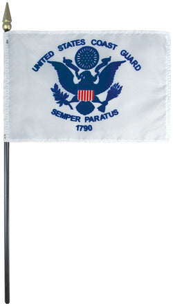 "Mounted Coast Guard Flag 8"" x 12"" E-Gloss - Staff: 1/4"" x 18"", Wood, Black"