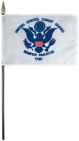 "Mounted Coast Guard Flag 4"" x 6"" Plastic - Staff: 3/16"" x 10"", Plastic, Gold"