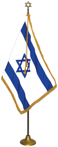 "Israel (Zion) Flag Deluxe Nylon Sets with Oak Pole Model ZW-20, Flag Size: 3' X 5', Pole Size: 8' X 1-1/8"", Star Height x Width: 6-3/4"" X 4-3/4"", Stand Diam.: 12"""