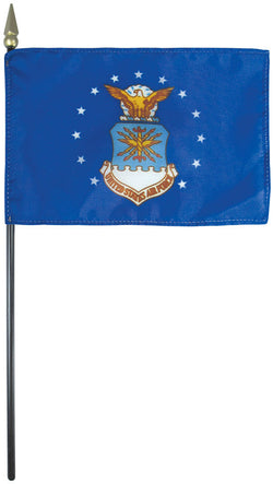 "Mounted Airforce Flag 8"" x 12"" E-Gloss - Staff: 1/4"" x 18"", Wood, Black"