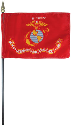 "Mounted Marine Corps Flag 8"" x 12"" E-Gloss - Staff: 1/4"" x 18"", Wood, Black"