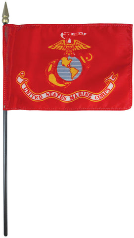 "Mounted Marine Corps Flag 4"" x 6"" Plastic - Staff: 3/16"" x 10"", Plastic, Gold"