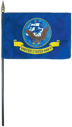 "Mounted Navy Flag 8"" x 12"" E-Gloss - Staff: 1/4"" x 18"", Wood, Black"