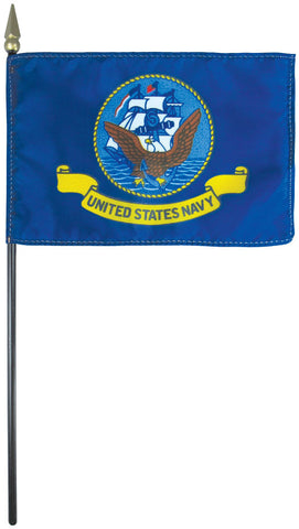 "Mounted Navy Flag 4"" x 6"" Plastic - Staff: 3/16"" x 10"", Plastic, Gold"