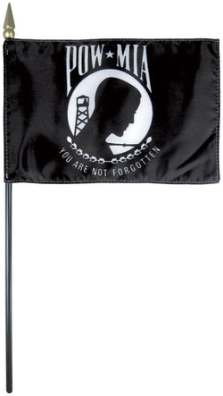 "Mounted POW/MIA Flag 4"" x 6"" No-Fray Cotton - Staff: 3/16"" x 10"", Wood, Natural - Spear: Gold"