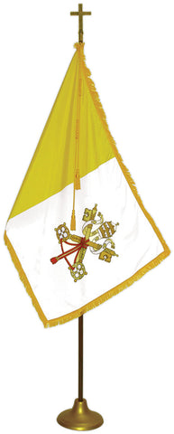 "Papal Flag Deluxe Nylon Sets with Oak Pole Model FPW-1, Flag Size: 3' X 5', Pole Size: 8' X 1-1/8"", Cross Height x Width: 7-1/2"" X 5"", Stand Diam.: 12"""