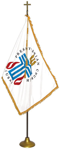 "Presbyterian Flag Deluxe Nylon Sets with Oak Pole Flag Size: 3' X 5', Pole Size: 8' X 1-1/8"", Cross Height x Width: 7-1/2"" X 5"", Stand Diam.: 12"""