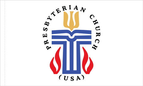 Presbyterian Flag Indoor with Gold Fringe - with Pole Hem & Mounting Tabs, Flag Size: 3' X 5'