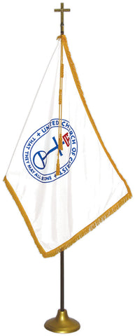"United Church of Christ Flag Deluxe Nylon Sets with Oak Pole Flag Size: 3' X 5', Pole Size: 8' X 1-1/8"", Cross Height x Width: 7-1/2"" X 5"", Stand Diam.: 12"""