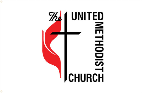 United Methodist Flag 4' X 6' Outdoor with Canvas Header & Brass Grommets