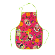 Pink Day of the Dead Apron with sugar skulls and marigolds