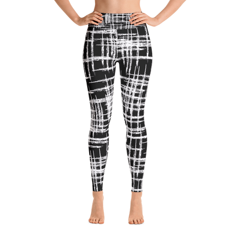 Black White Mod high waist women's leggings front view