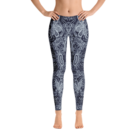 blue paisley mid rise leggings front view
