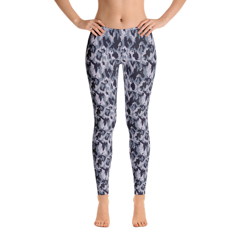 gray camo mid rise leggings front view