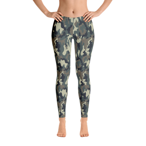Classic Camo Mid Rise Women's Leggings Front View