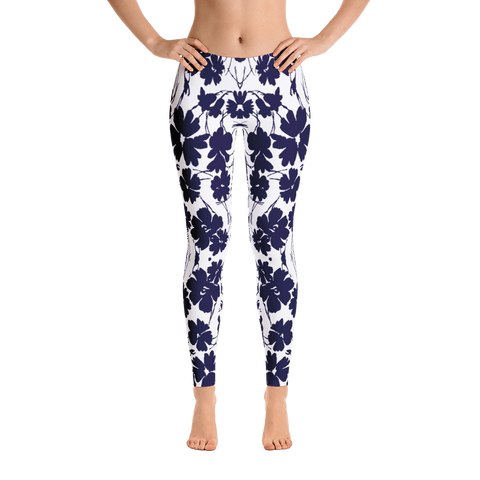 hawaiian blue flowers mid rise womens leggings front view