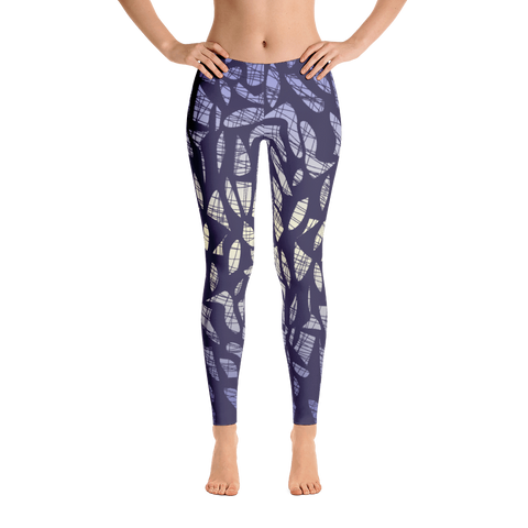 Lilac geo web mid rise women's leggings front view